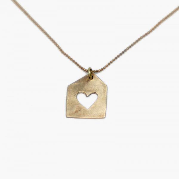 """Biżuteria artystyczna z brązu """"Domek z sercem"""""""