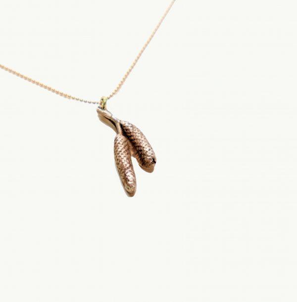 """biżuteria brąz """"Szyszki brzozy"""" - krótki naszyjnik 2"""