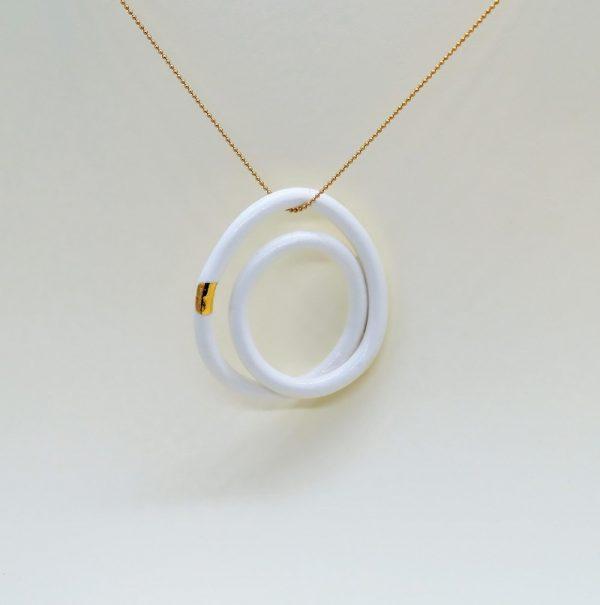 """Biżuteria porcelanowa """"Przenikające się owale"""" - krótki naszyjnik"""